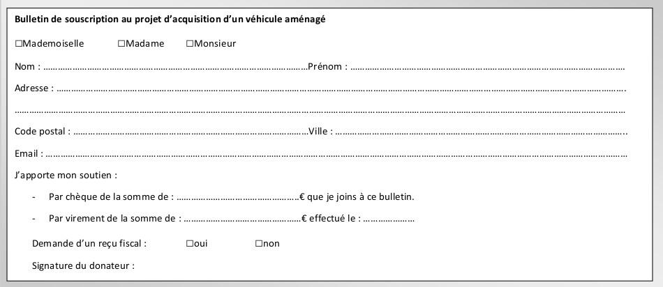 Bulletin de souscription vehicule